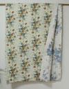 カントリー・コットン・花柄・マルチカバー/ベッドカバー・リバーシブル・花柄ハンドステッチ・ブルー